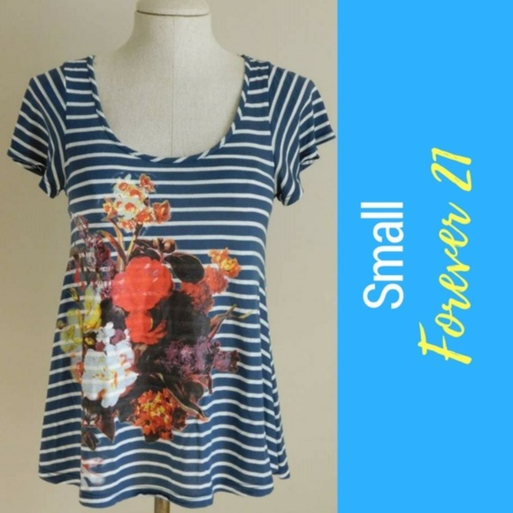4f6a04cbc Forever 21 Tops   Loose Striped Graphic Tee With Flower Overlay ...
